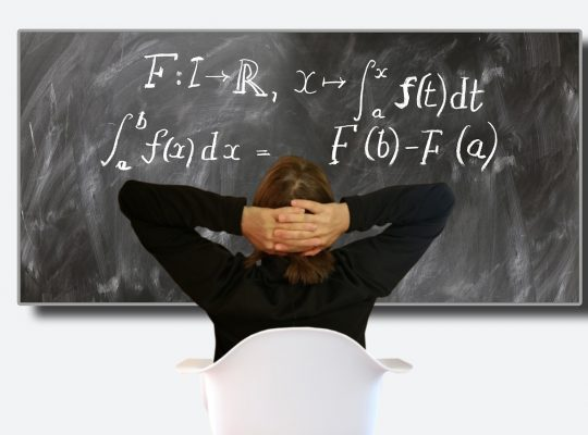 a woman staring at differential calculus