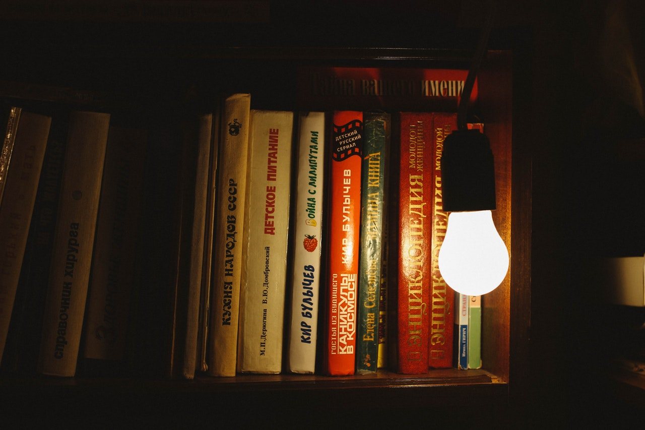 light bulb in front of books